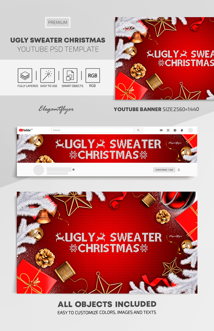 Ugly Sweater Christmas – Youtube Channel banner PSD Template