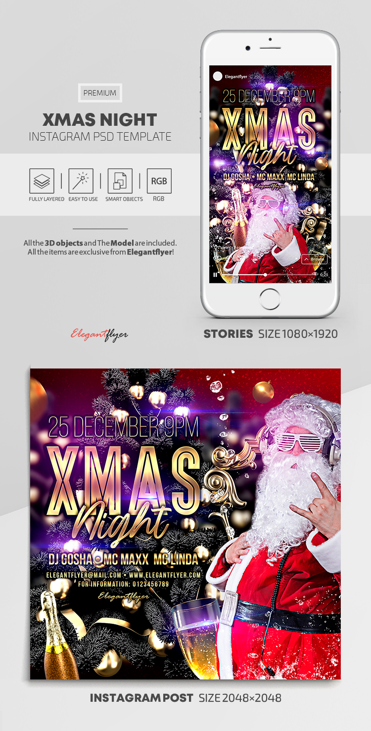 XMAS Night – Instagram Stories Template in PSD + Post Templates