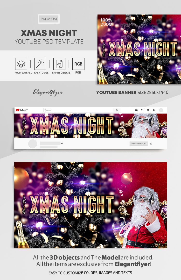 XMAS Night – Youtube Channel banner PSD Template
