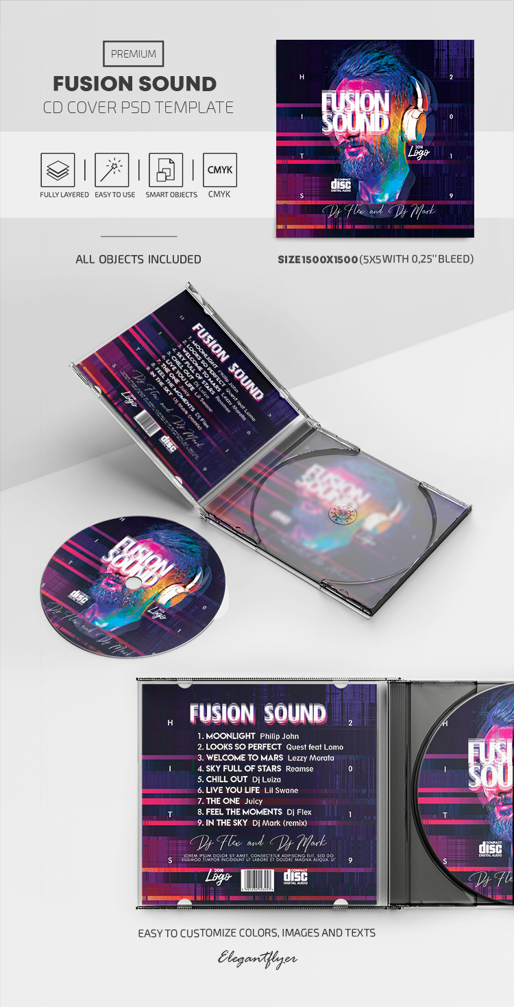 Fusion – Premium CD Cover PSD Template