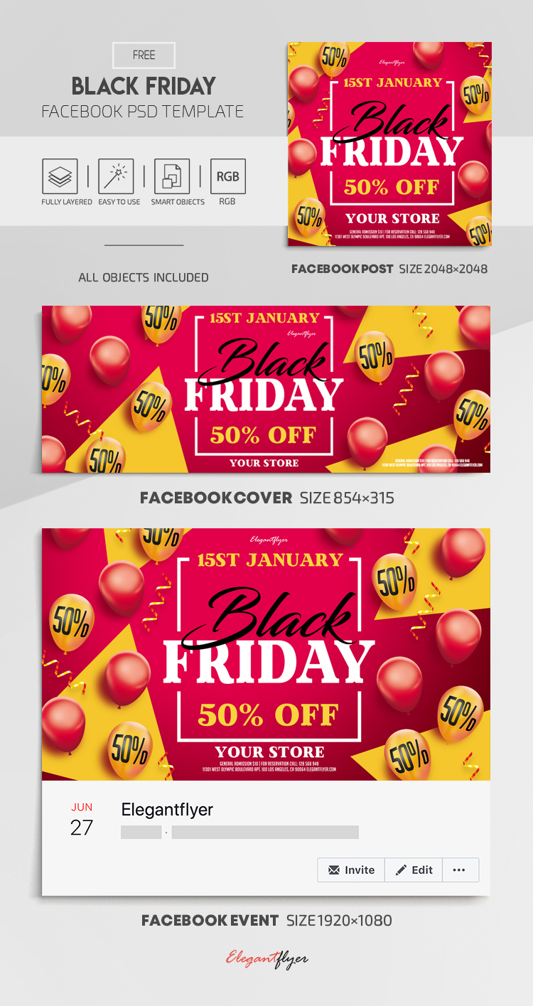 Black Friday – Free Facebook Cover Template in PSD + Post + Event cover