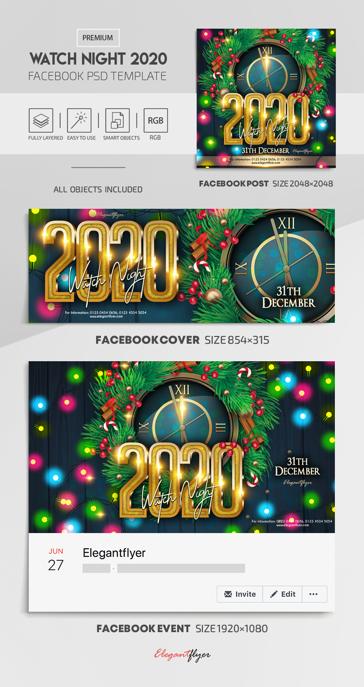Watch Night 2020 – Facebook Cover Template in PSD + Post + Event cover