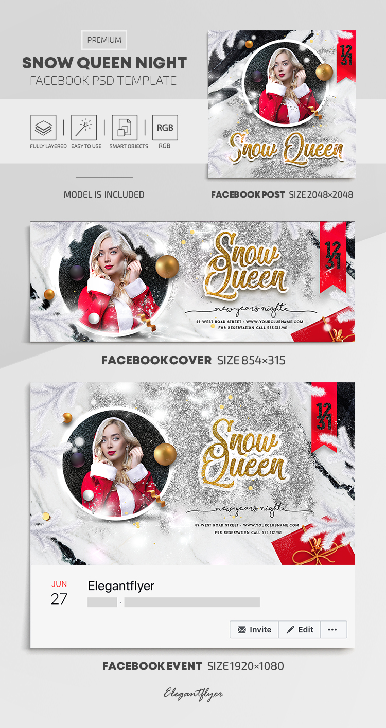 Snow Queen Night – Facebook Cover Template in PSD + Post + Event cover