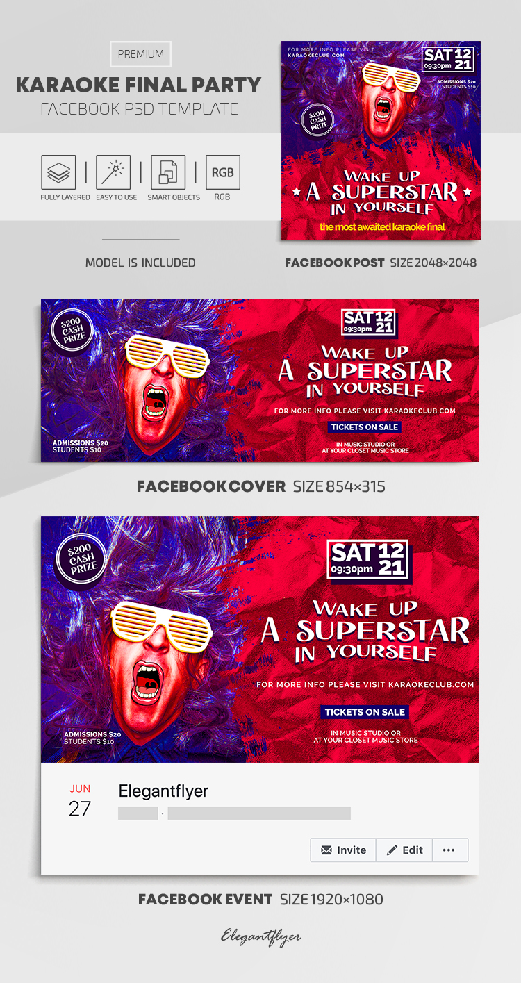 Karaoke Final Party – Facebook Cover Template in PSD + Post + Event cover