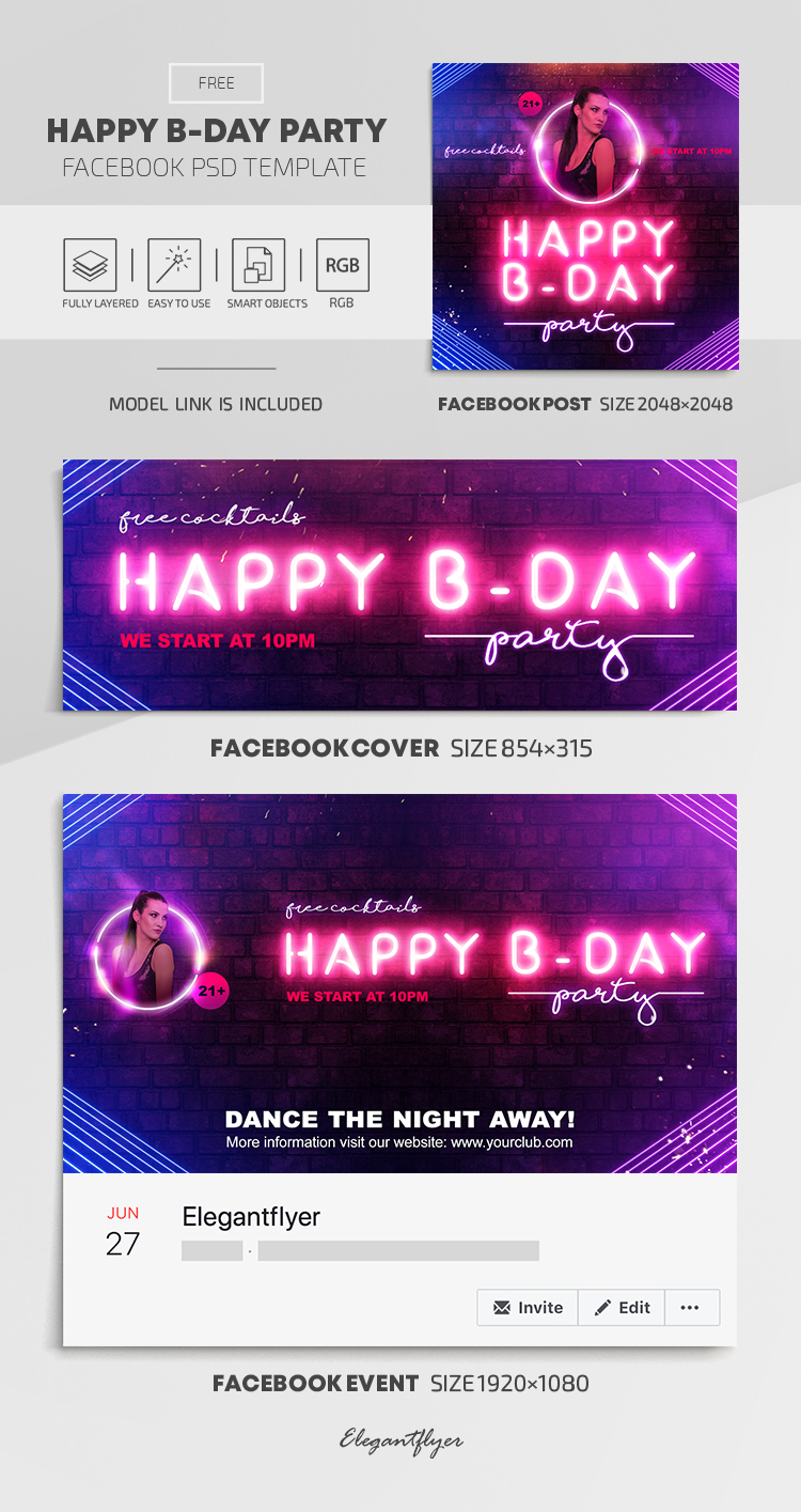 Happy B-Day Party – Facebook Cover Template in PSD + Post + Event cover