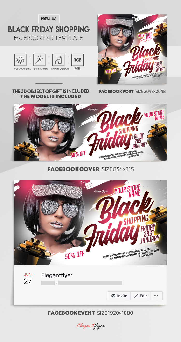Black Friday Shopping – Facebook Cover Template in PSD + Post + Event cover