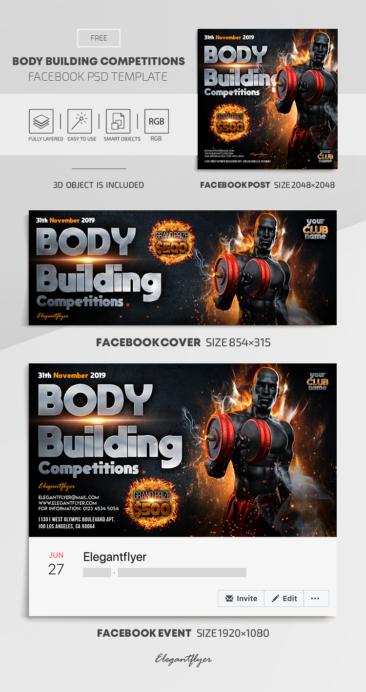 Body Building Competitions – Free Facebook Cover Template in PSD + Post + Event cover