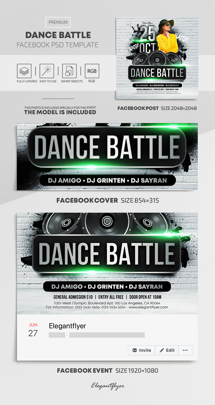 Dance Battle – Facebook Cover Template in PSD + Post + Event cover