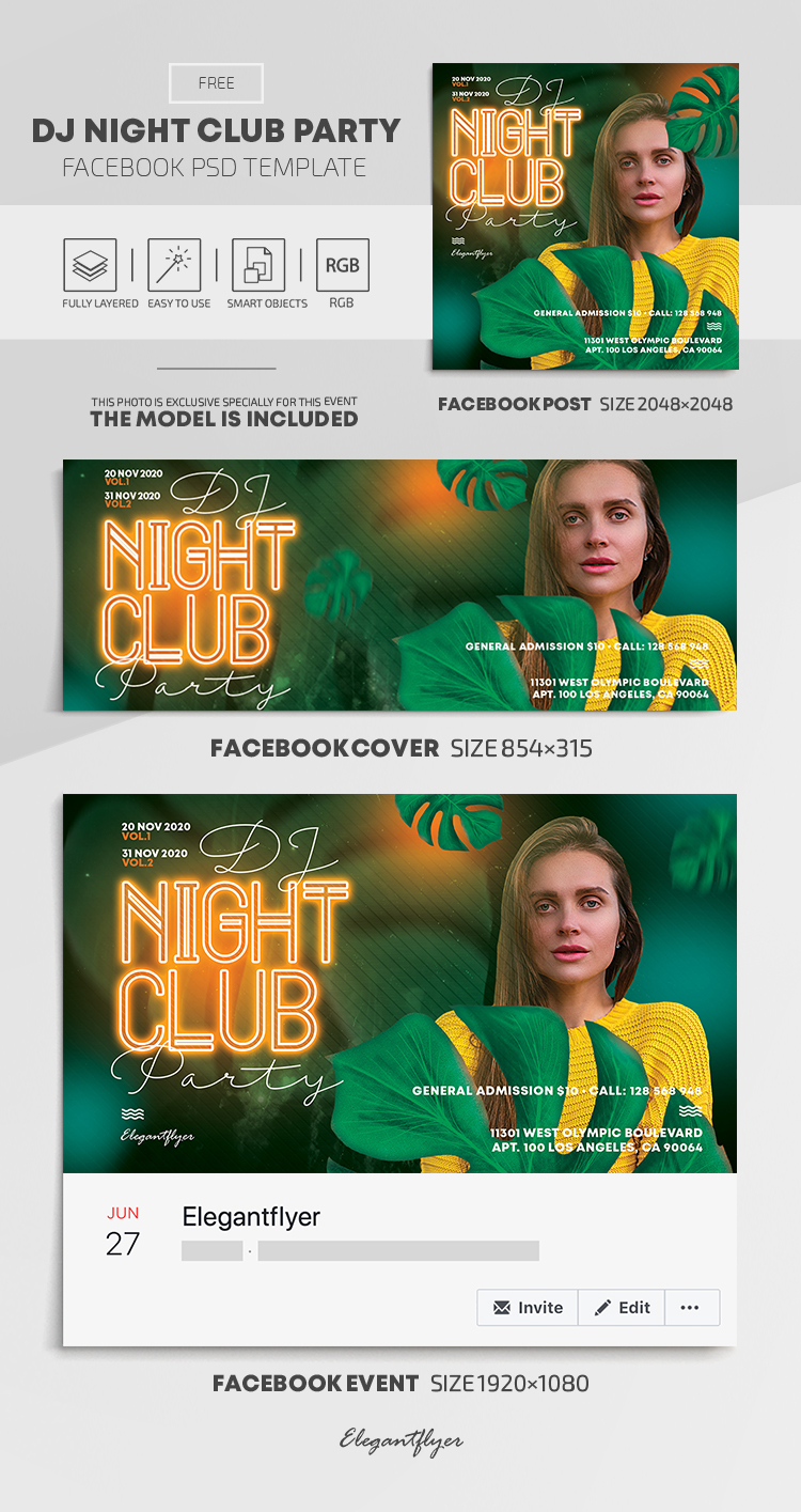 Dj Night Club Party – Free Facebook Cover Template in PSD + Post + Event cover