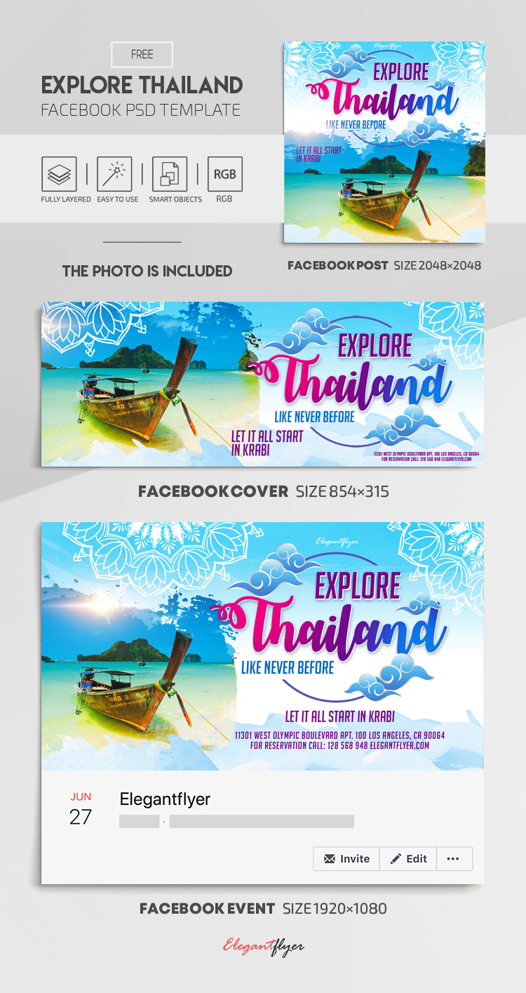 Explore Thailand. Like Never Before. Let it All Start in Krabi – Free Facebook Cover Template in PSD + Post + Event cover