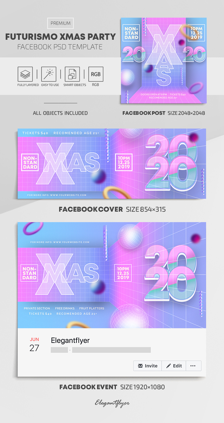 Futurismo Christmas Party – Facebook Cover Template in PSD + Post + Event cover