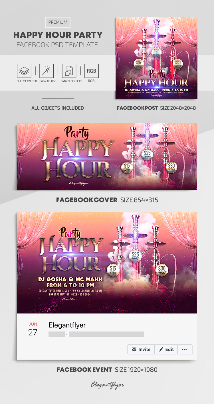 Happy Hour Party – Facebook Cover Template in PSD + Post + Event cover