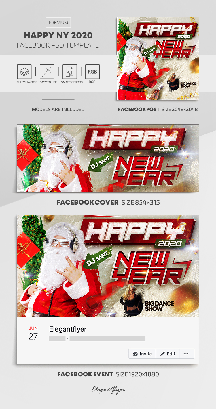 Happy New Year 2020 – Facebook Cover Template in PSD + Post + Event cover