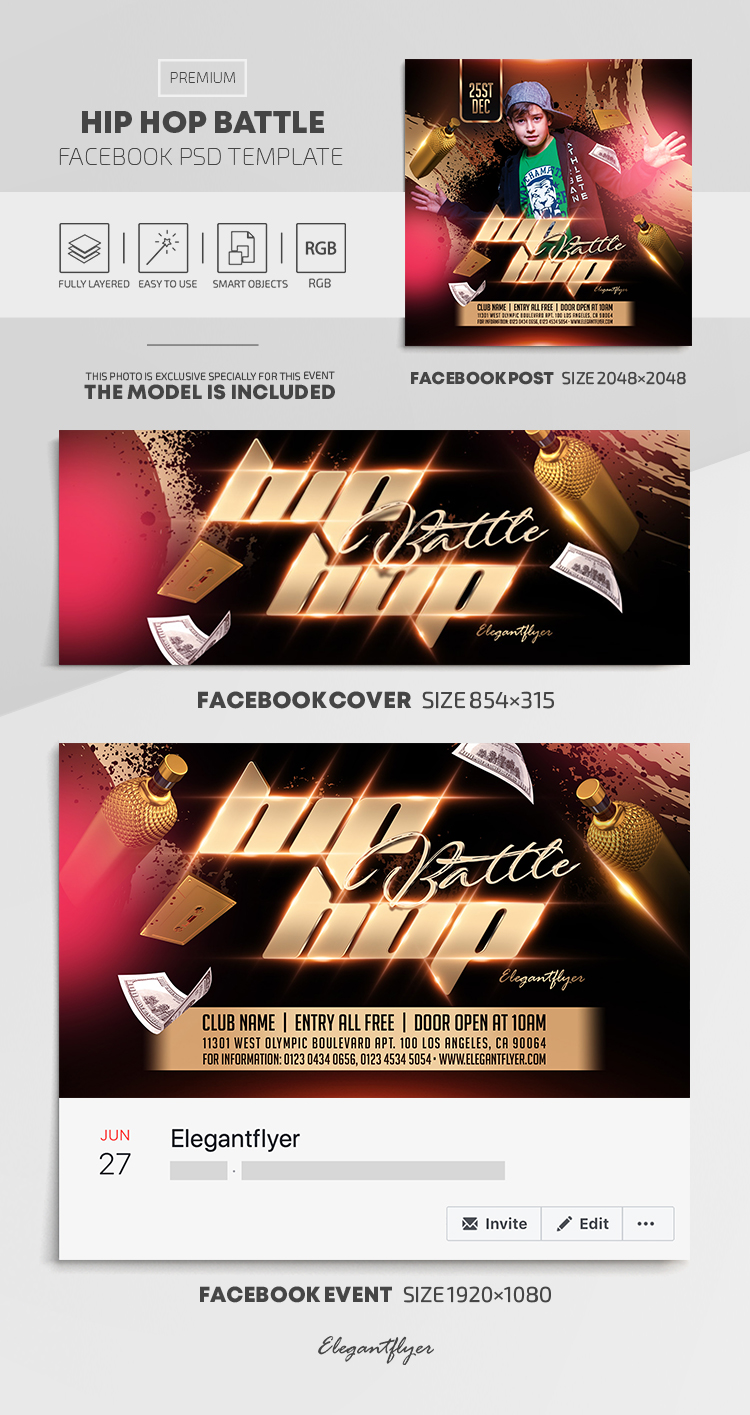 Hip Hop Battle – Facebook Cover Template in PSD + Post + Event cover