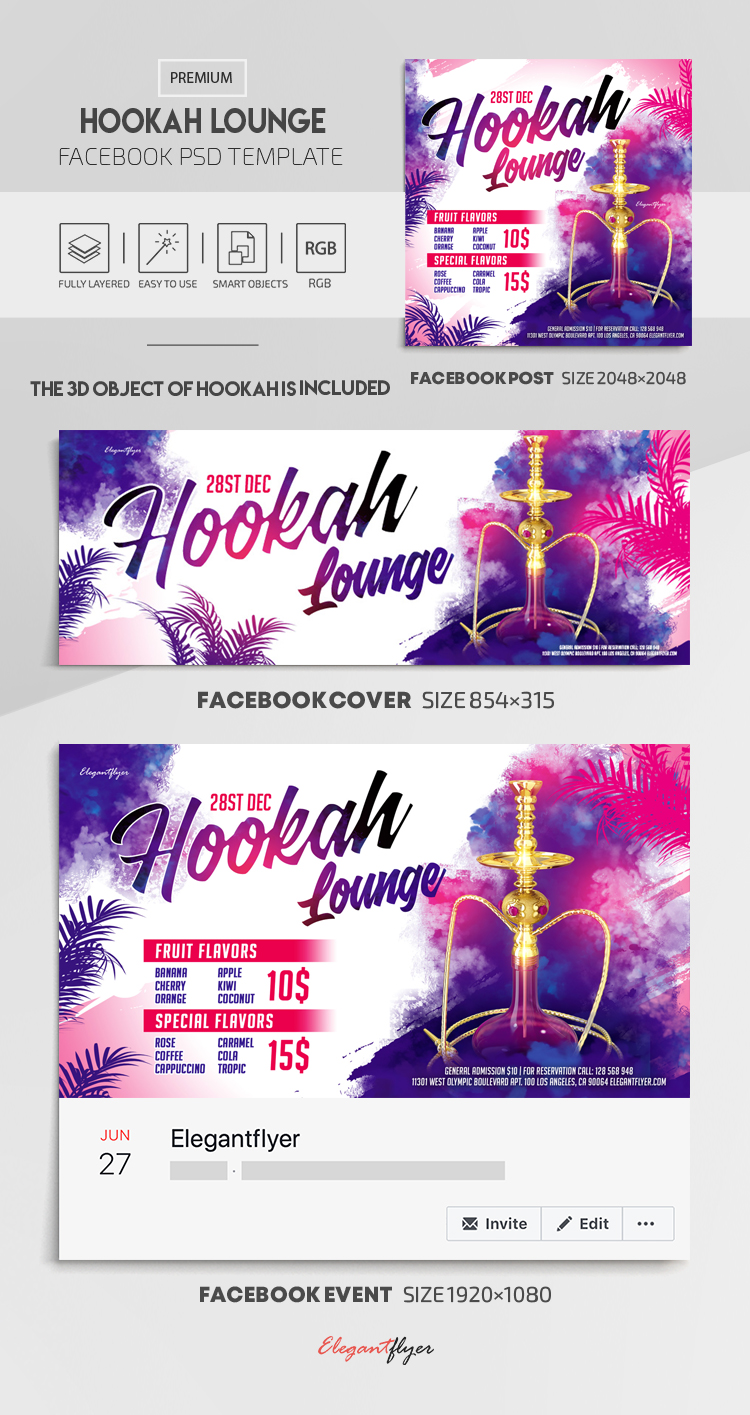 Hookah Lounge – Facebook Cover Template in PSD + Post + Event cover