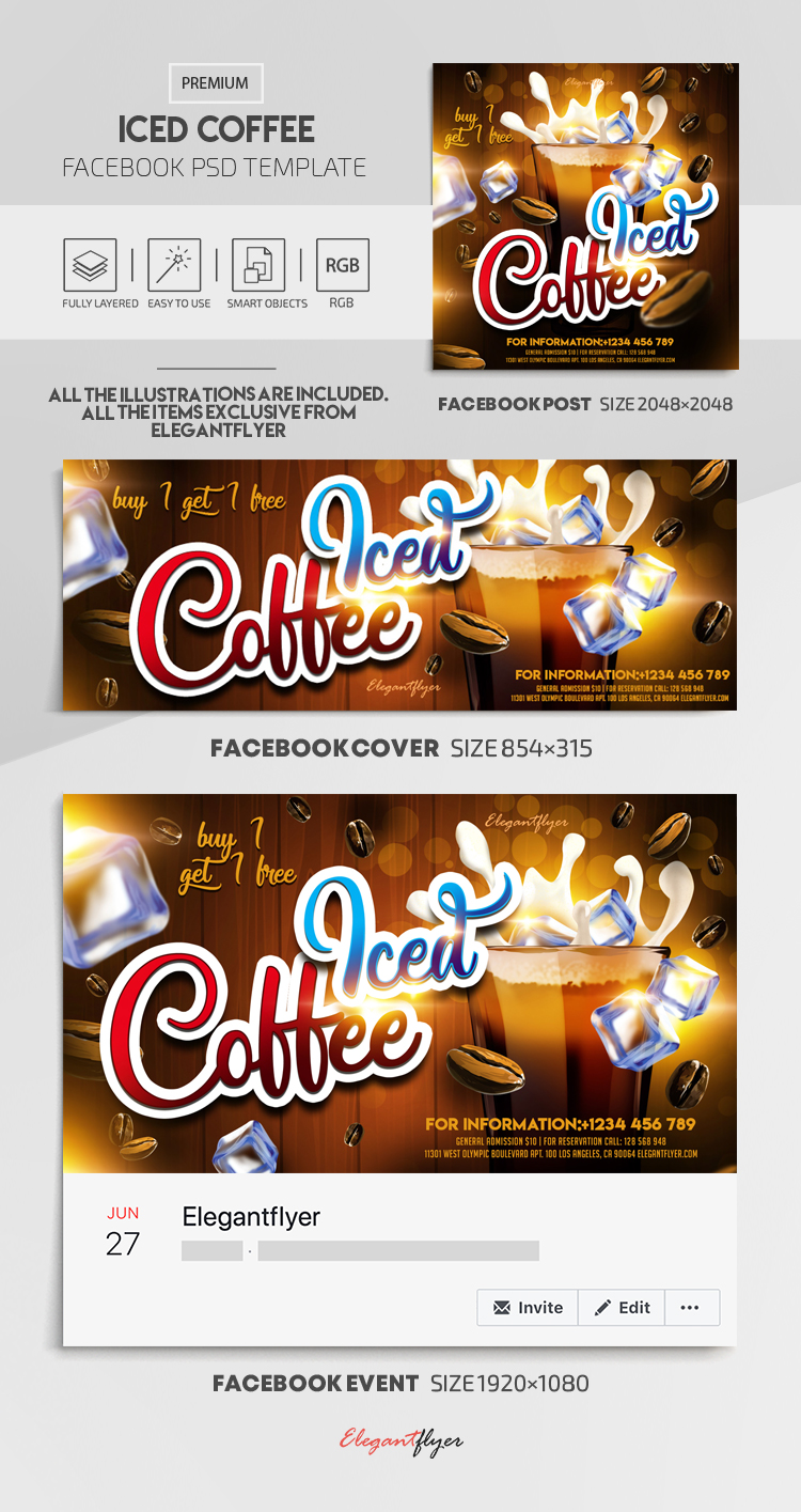 Iced Coffee – Facebook Cover Template in PSD + Post + Event cover