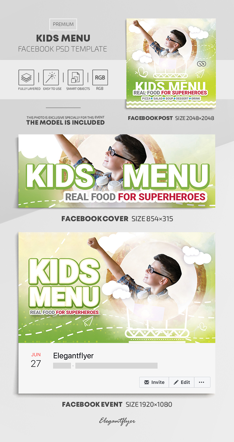 Kids Menu – Delicious Healthy Meals for Kids – Facebook Cover Template in PSD + Post + Event cover