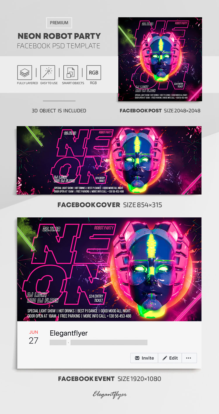 Neon Robot Party – Facebook Cover Template in PSD + Post + Event cover