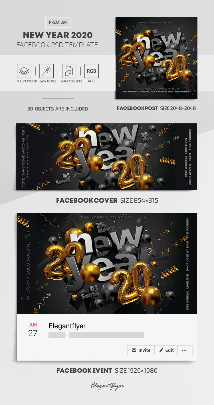 New Year 2020 – Facebook Cover Template in PSD + Post + Event cover