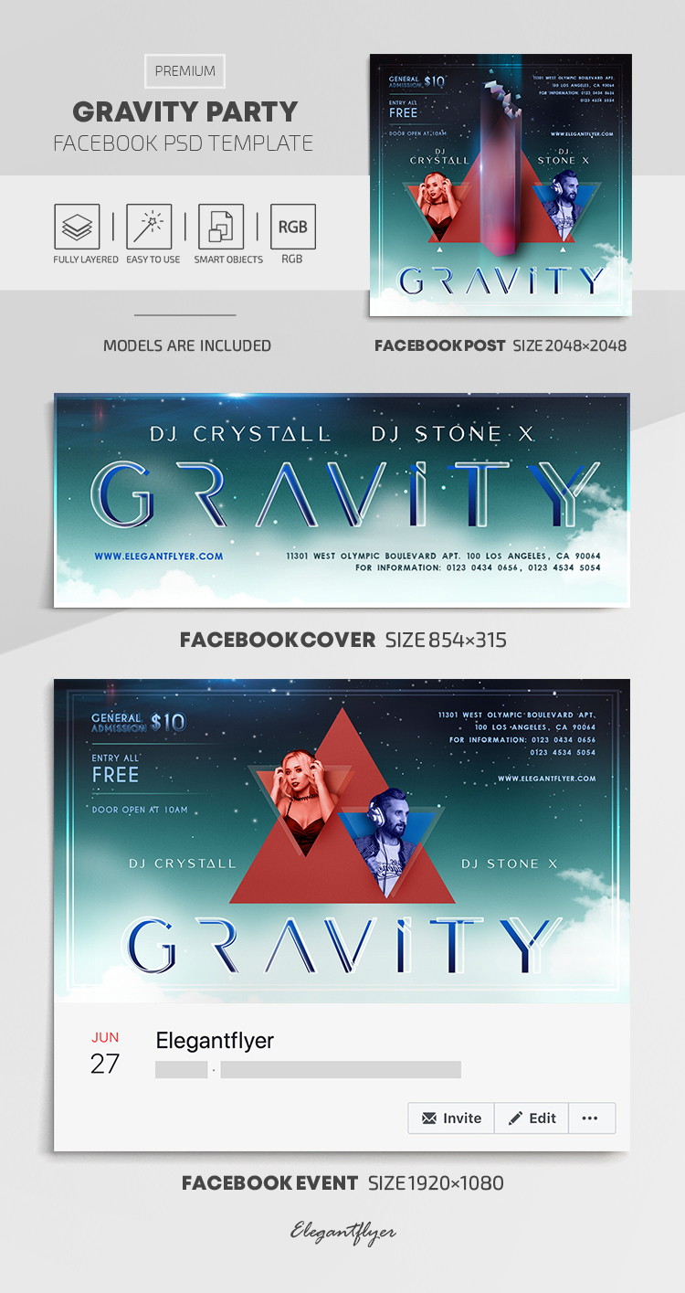 Gravity Party – Facebook Cover Template in PSD + Post + Event cover