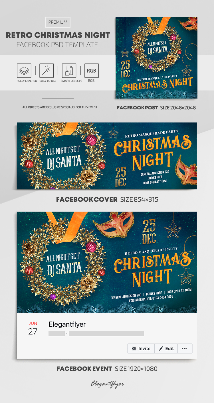 Retro Christmas Night – Facebook Cover Template in PSD + Post + Event cover