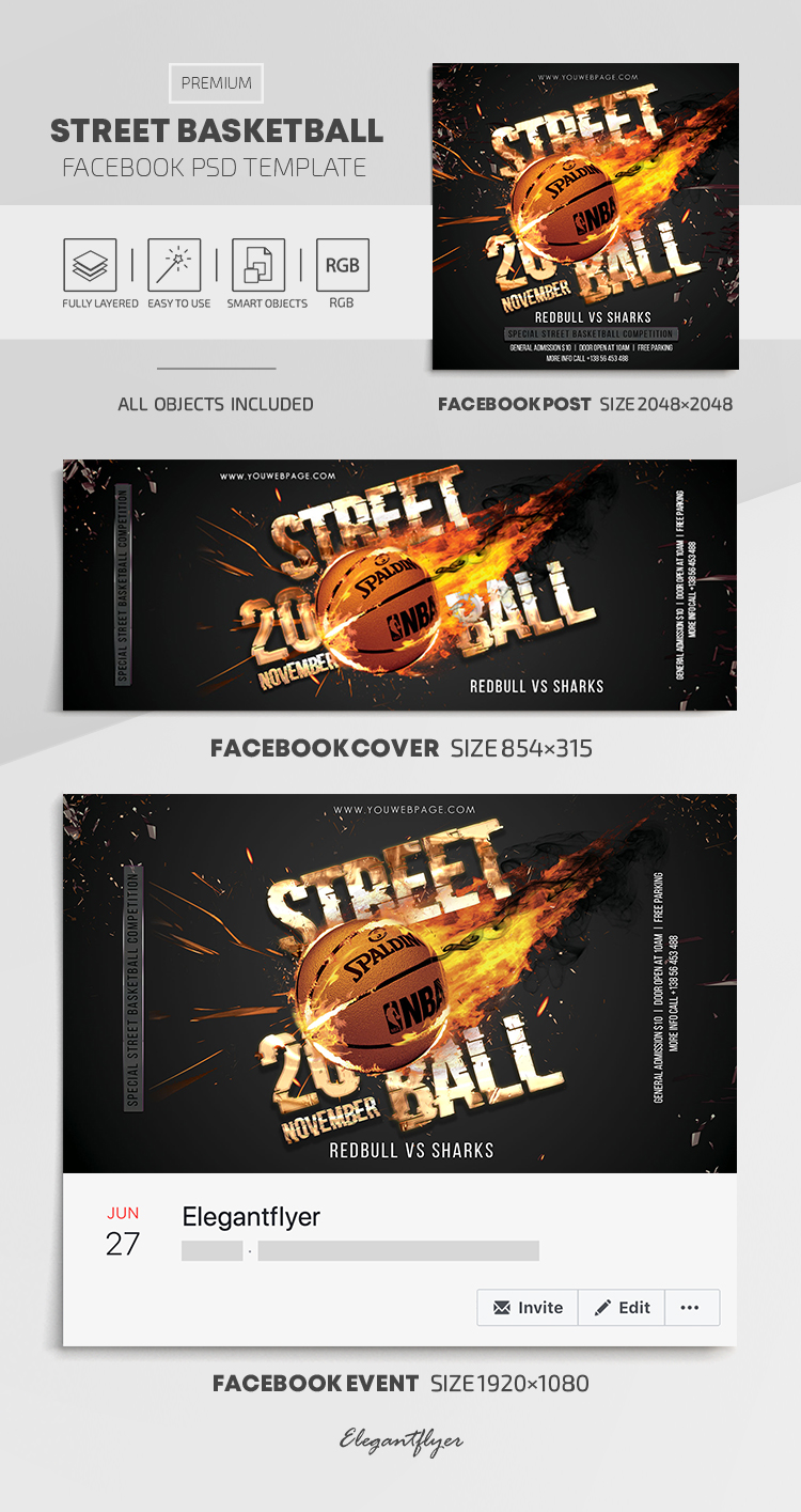 Street Basketball – Facebook Cover Template in PSD + Post + Event cover