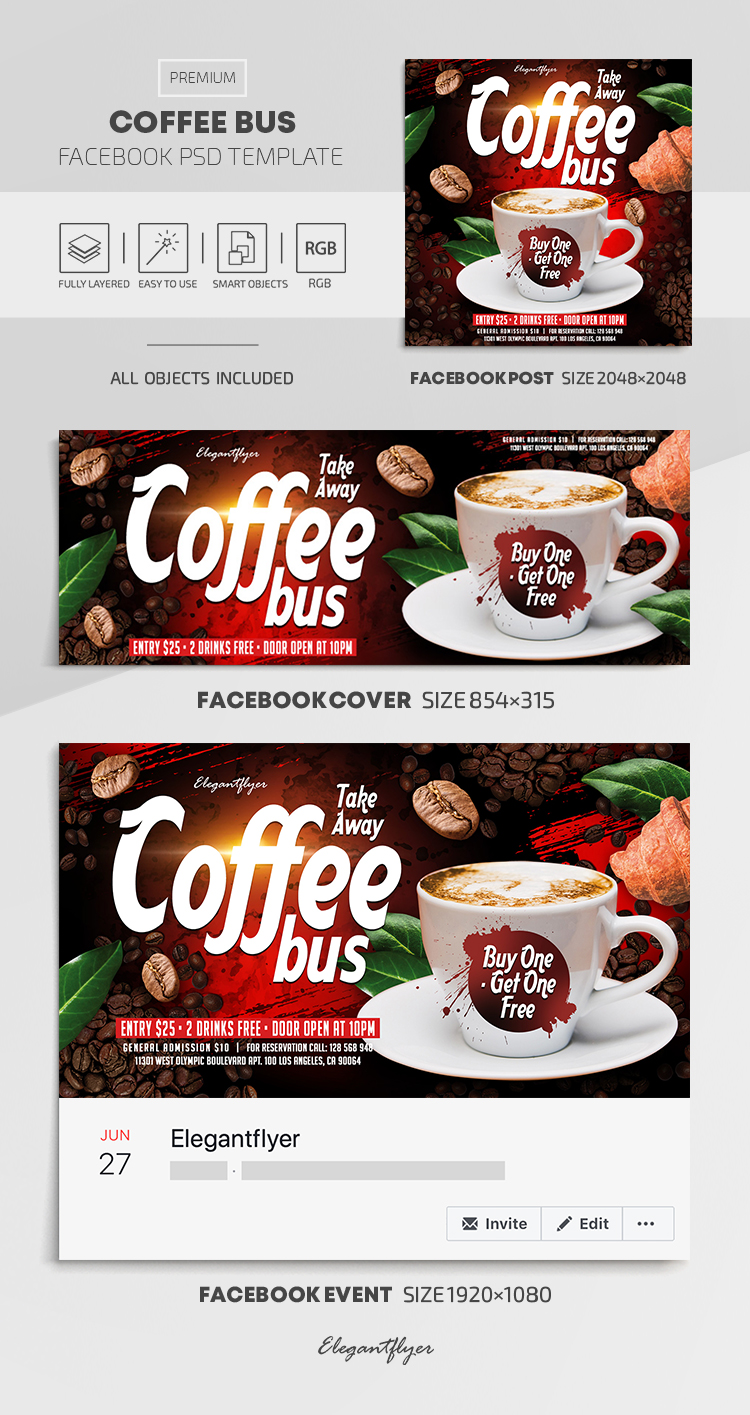 Take Away. Coffee Bus. Buy One – Get One Free – Facebook Cover Template in PSD + Post + Event cover