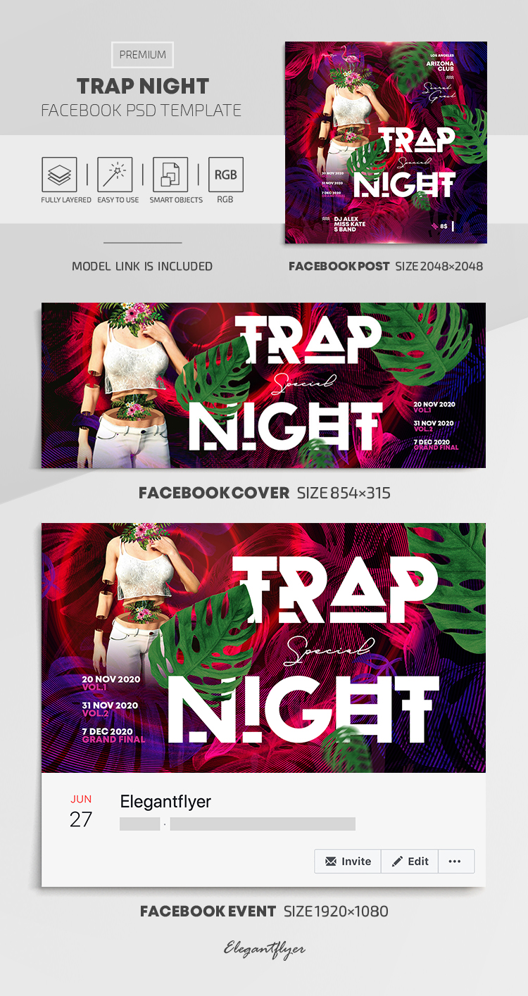 Trap Night – Facebook Cover Template in PSD + Post + Event cover