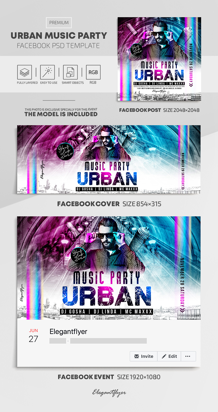 Urban Music Party – Facebook Cover Template in PSD + Post + Event cover