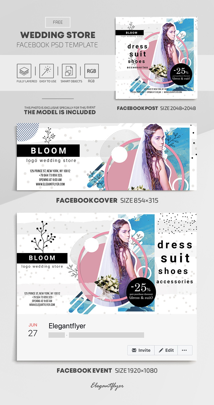 Wedding Store – Facebook Cover Template in FREE PSD + Post + Event cover