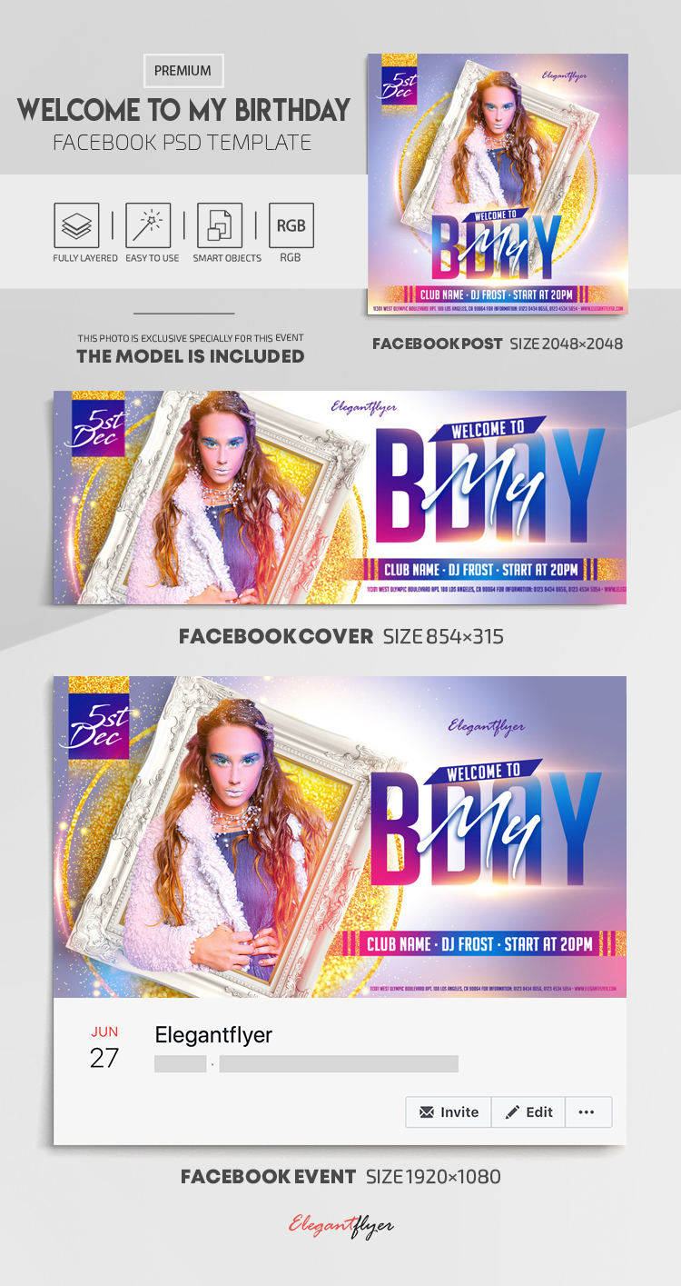 Welcome to My Birthday! – Facebook Cover Template in PSD + Post + Event cover