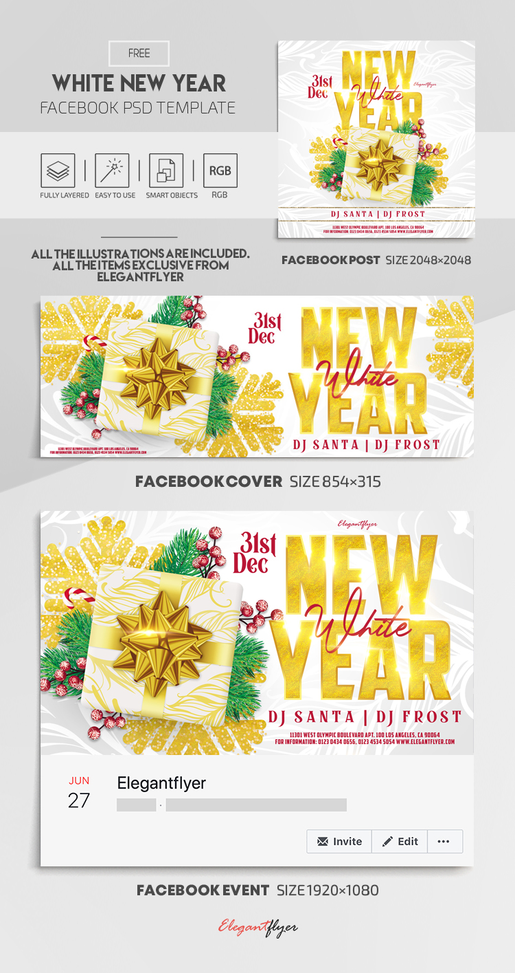 White New Year Party Free Facebook Cover Template In Psd Post