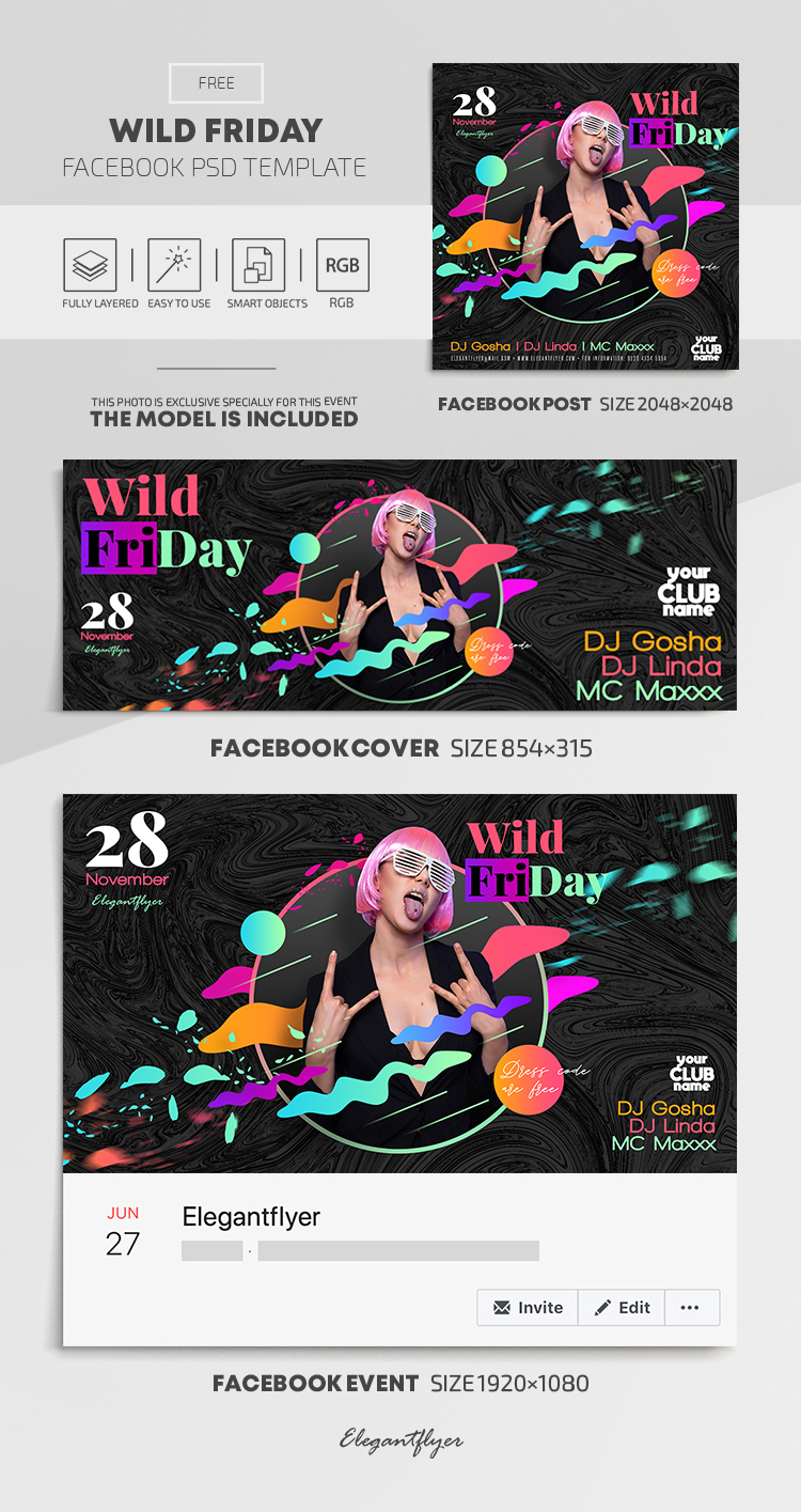 Wild Friday – Free Facebook Cover Template in PSD + Post + Event cover