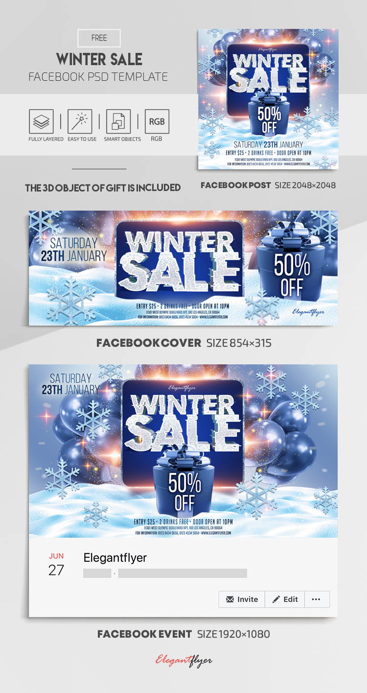 Winter Sale – Free Facebook Cover Template in PSD + Post + Event cover