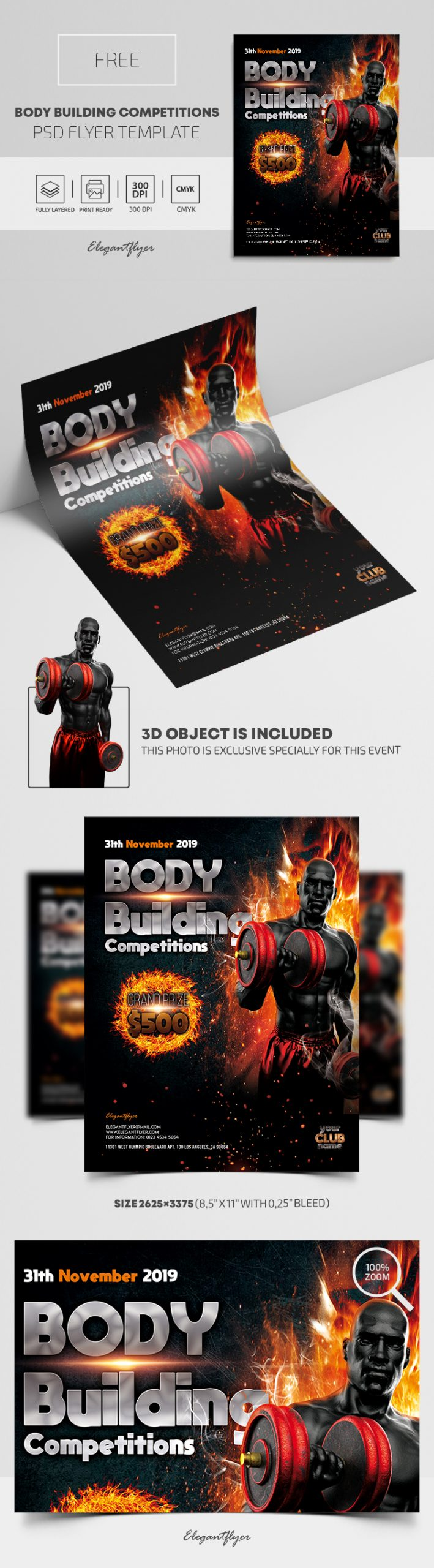 Body Building Competitions – Free PSD Flyer Template