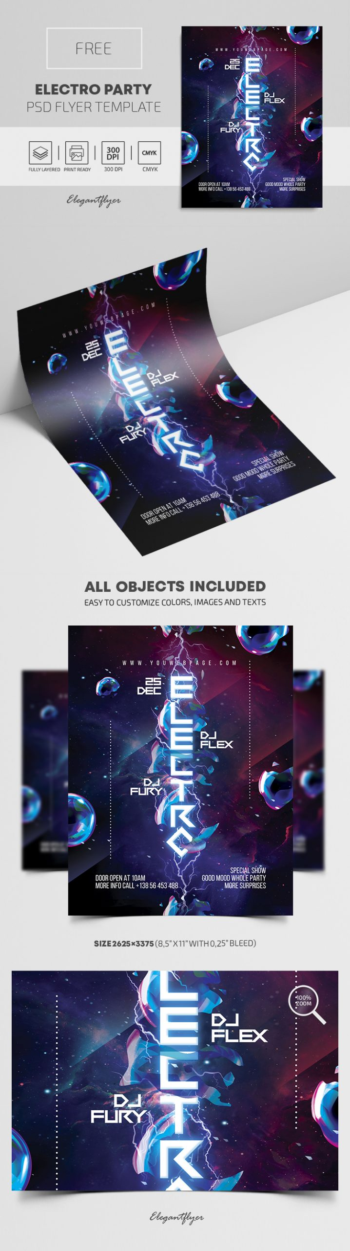 Electro Party – Free PSD Flyer Template