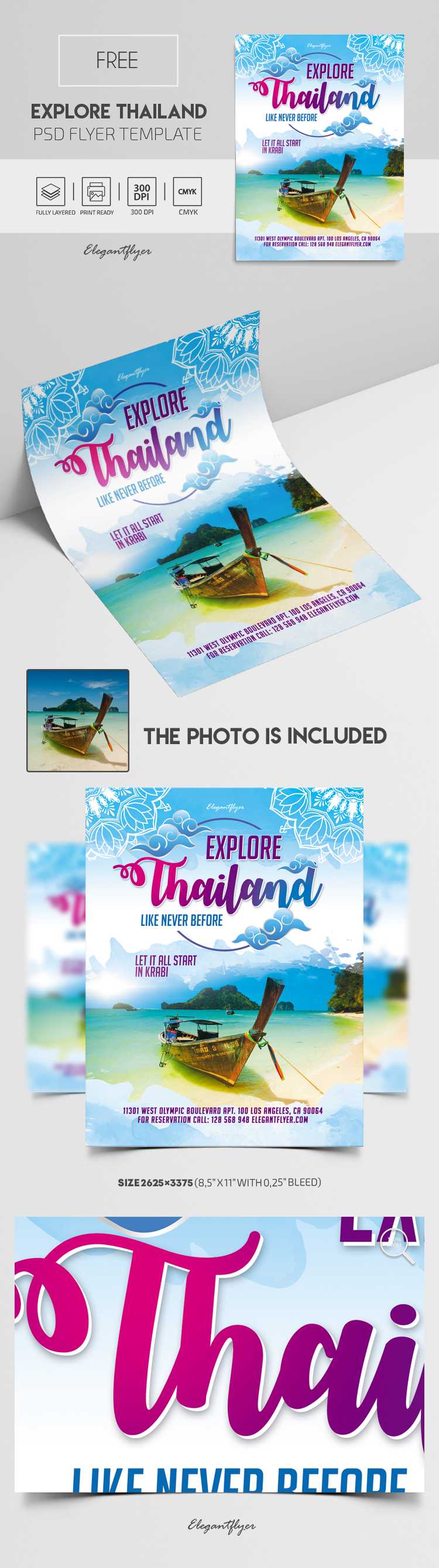 Explore Thailand. Like Never Before. Let it All Start in Krabi – Free PSD Flyer Template