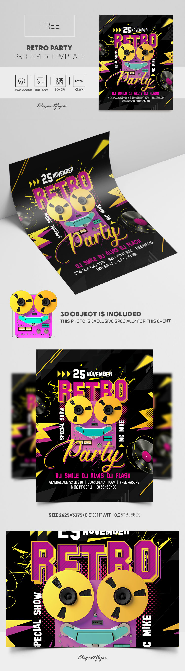 Retro Party – Free PSD Flyer Template