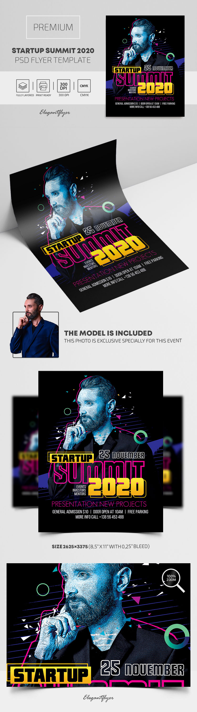 Startup summit 2020. Events, Investors, Mentors – Premium PSD Flyer Template