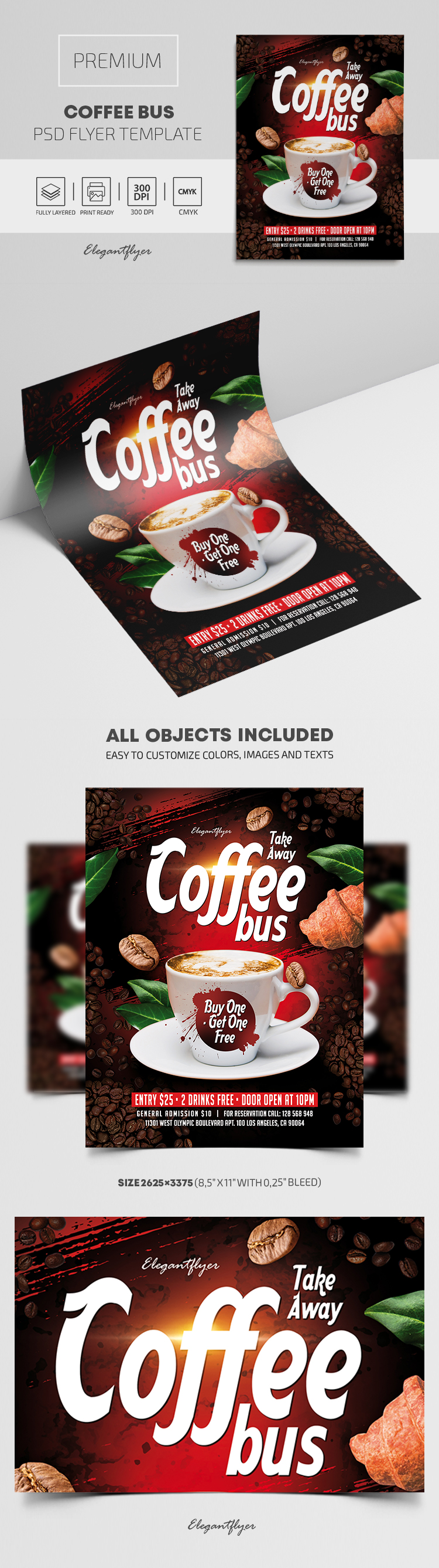 Take Away. Coffee Bus. Buy One – Get One Free – Premium PSD Flyer Template