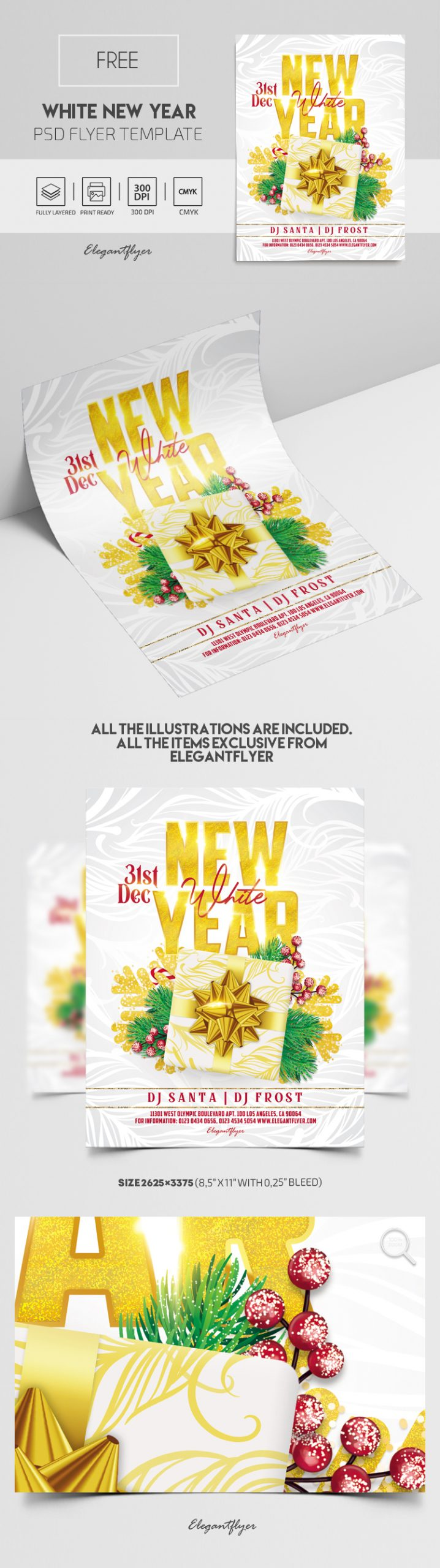 White New Year Party – Free PSD Flyer Template