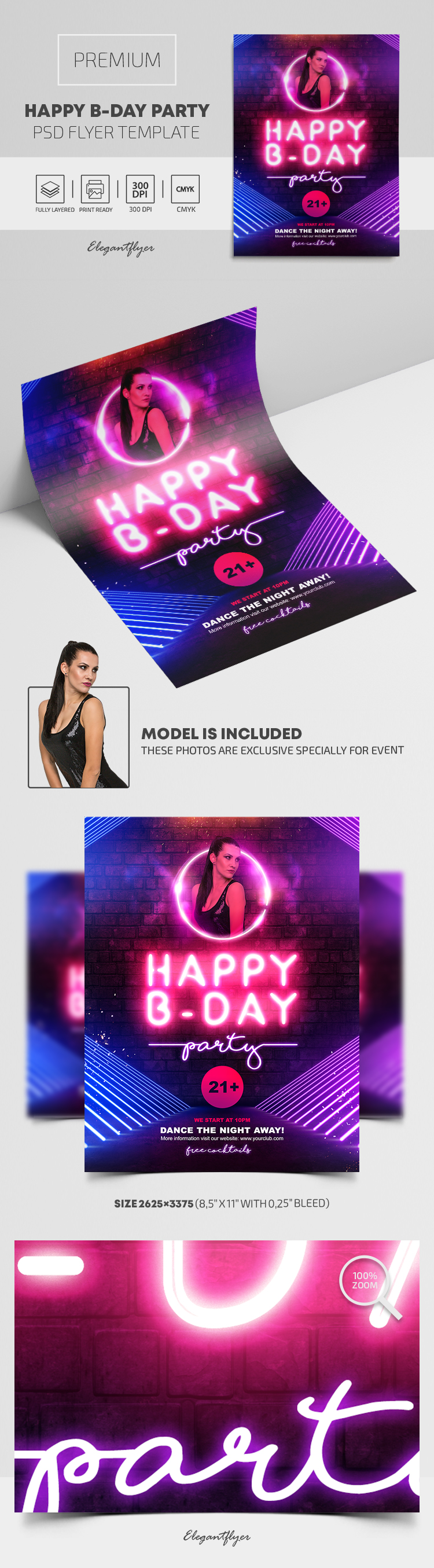 Happy B-Day Party – Premium PSD Flyer Template