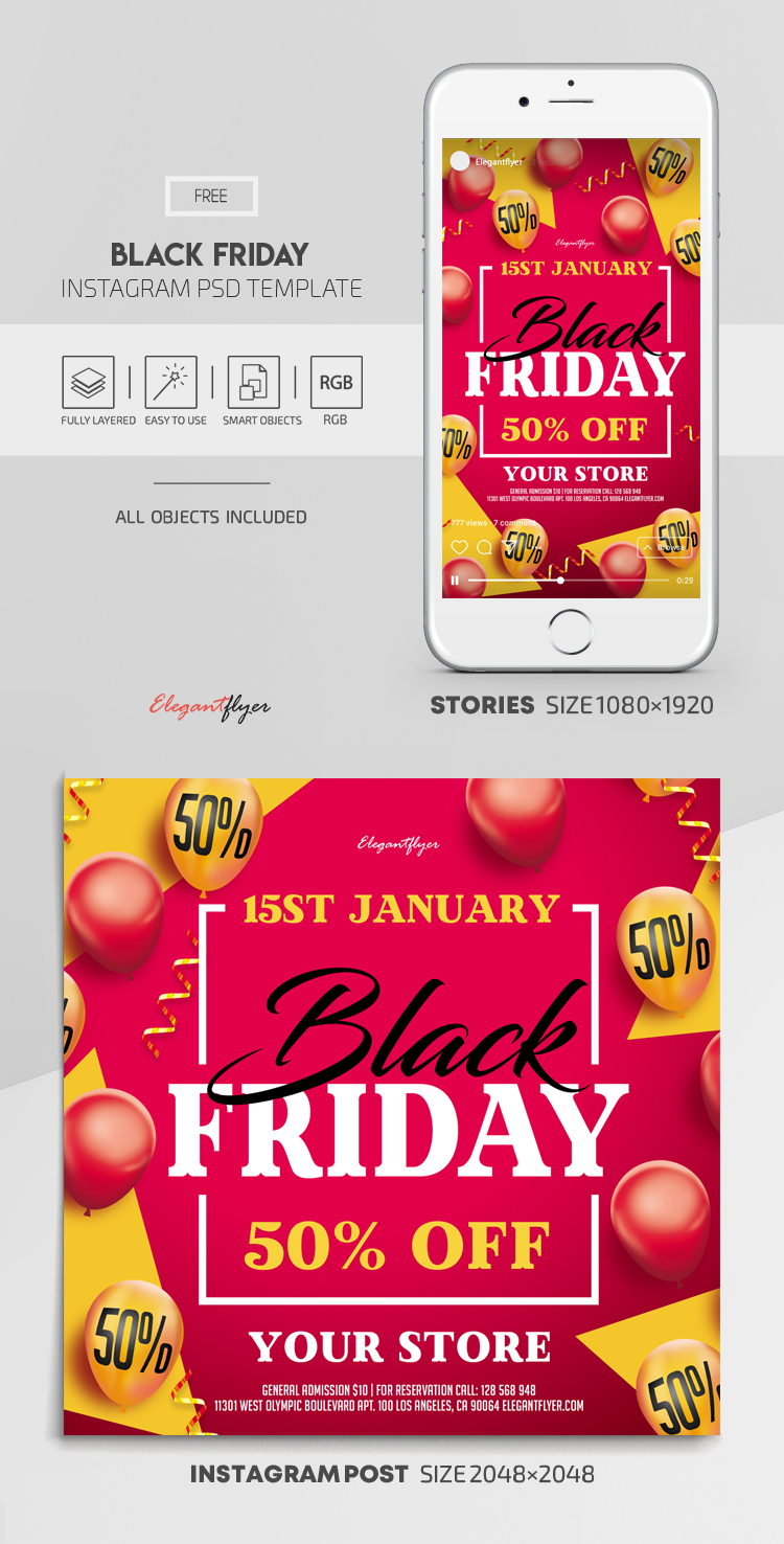 Black Friday – Free Instagram Stories Template in PSD + Post Templates