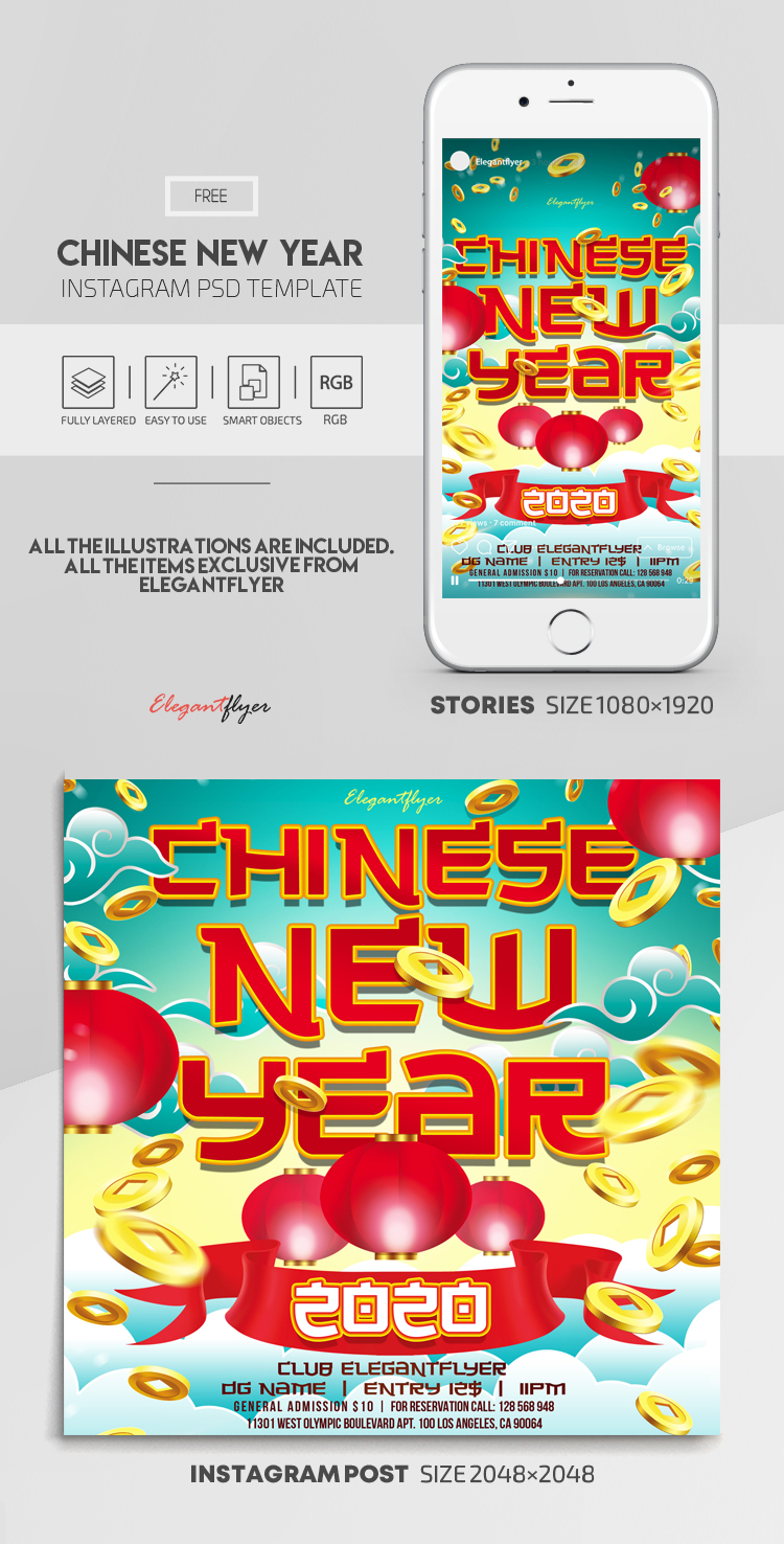 Chinese New Year 2020 – Free Instagram Stories Template in PSD + Post Templates