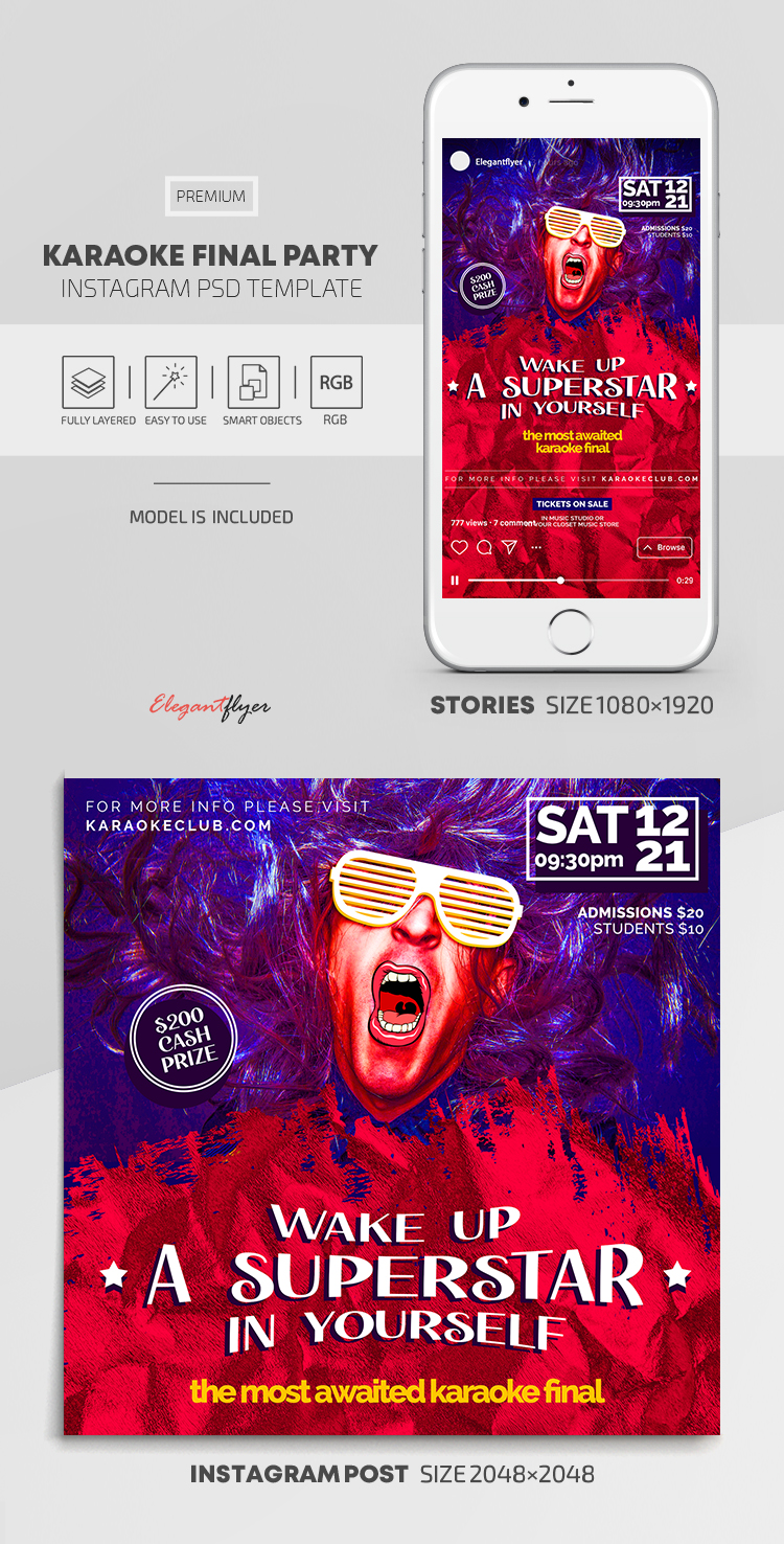Karaoke Final Party – Instagram Stories Template in PSD + Post Templates