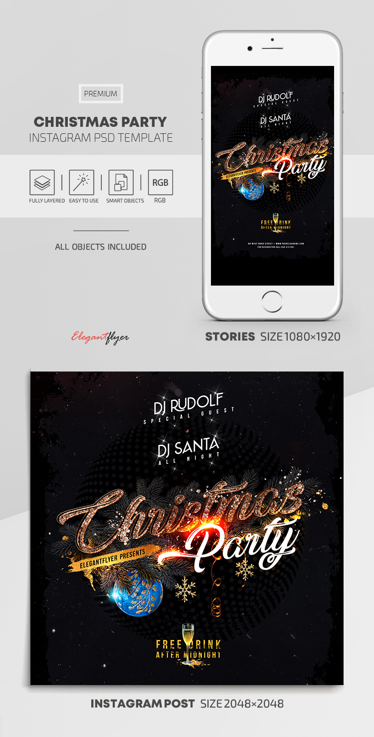 Christmas Party – Instagram Stories Template in PSD + Post Templates