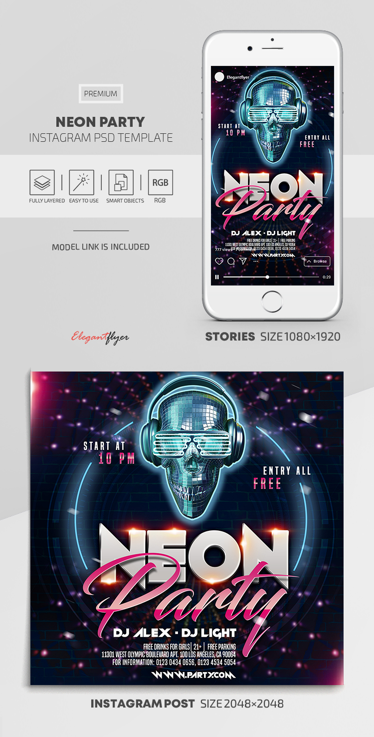 Neon Party – Instagram Stories Template in PSD + Post Templates