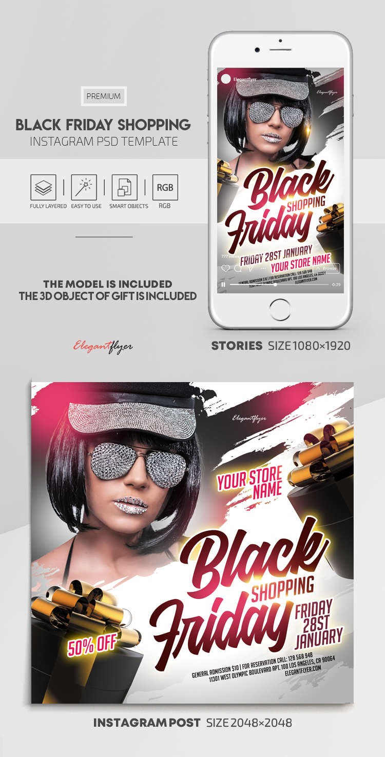 Black Friday Shopping – Instagram Stories Template in PSD + Post Templates