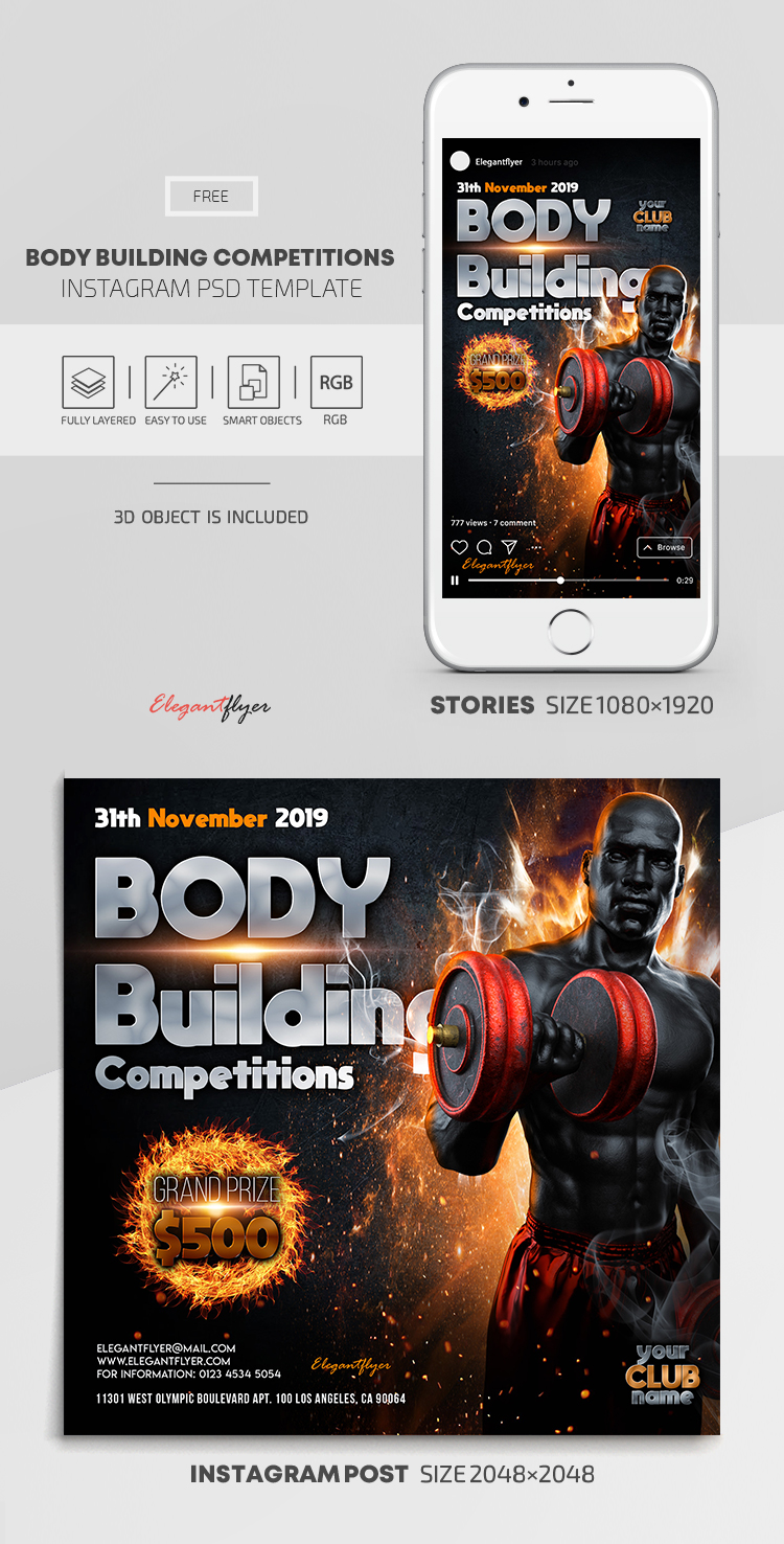 Body Building Competitions – Free Instagram Stories Template in PSD + Post Templates