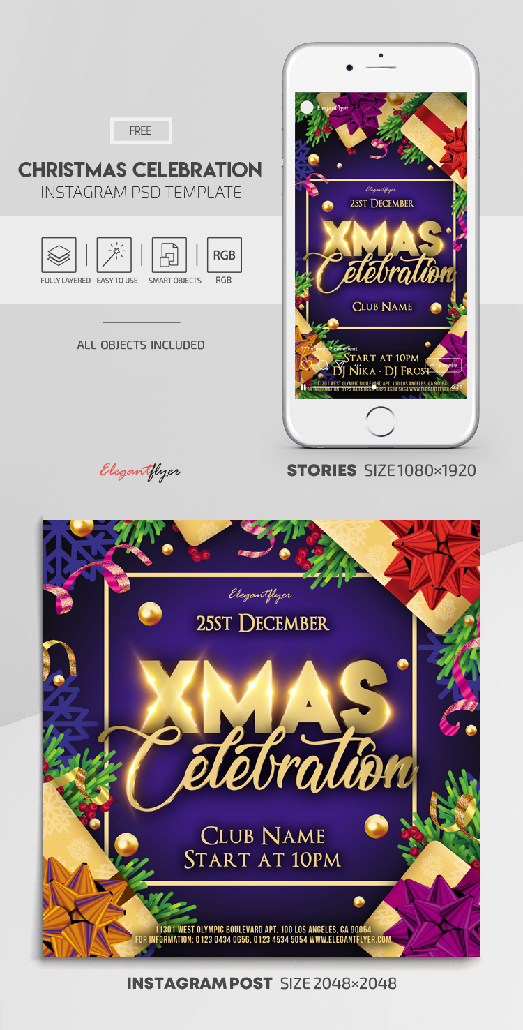 Christmas Celebration – Free Instagram Stories Template in PSD + Post Templates